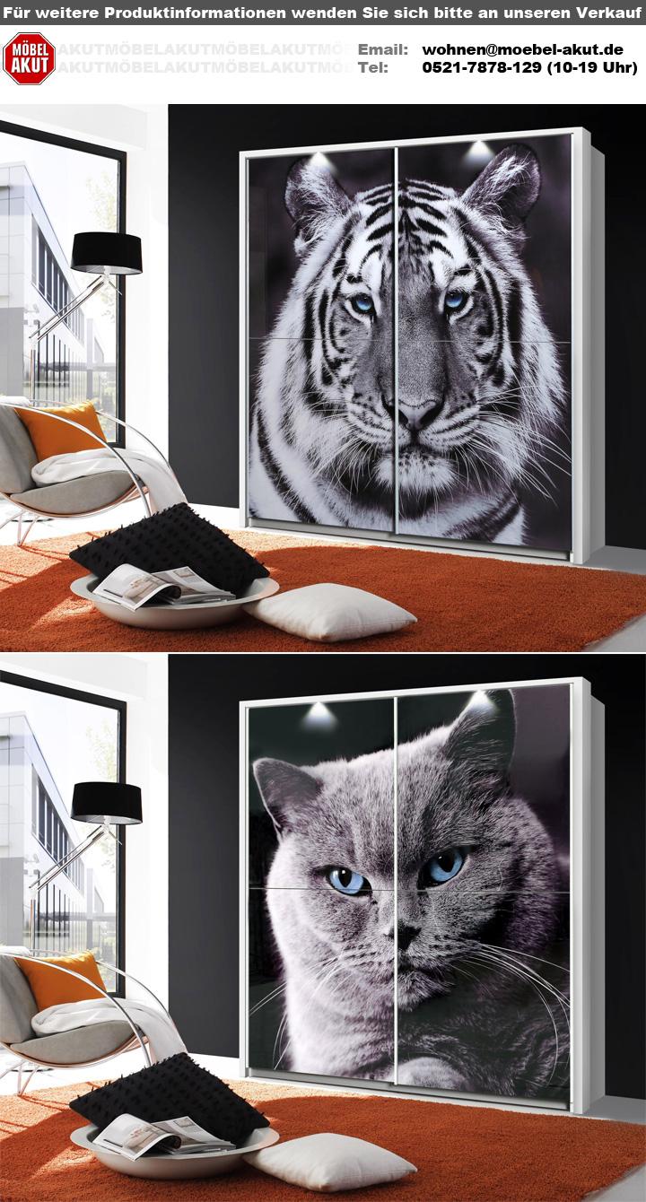 schwebet renschrank yanis wei glas mit tigermotiv 170 cm. Black Bedroom Furniture Sets. Home Design Ideas