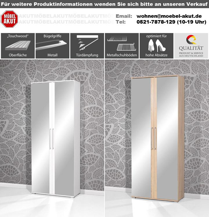 schuhschrank 3107 garderobe flurm bel in wei mit spiegel. Black Bedroom Furniture Sets. Home Design Ideas