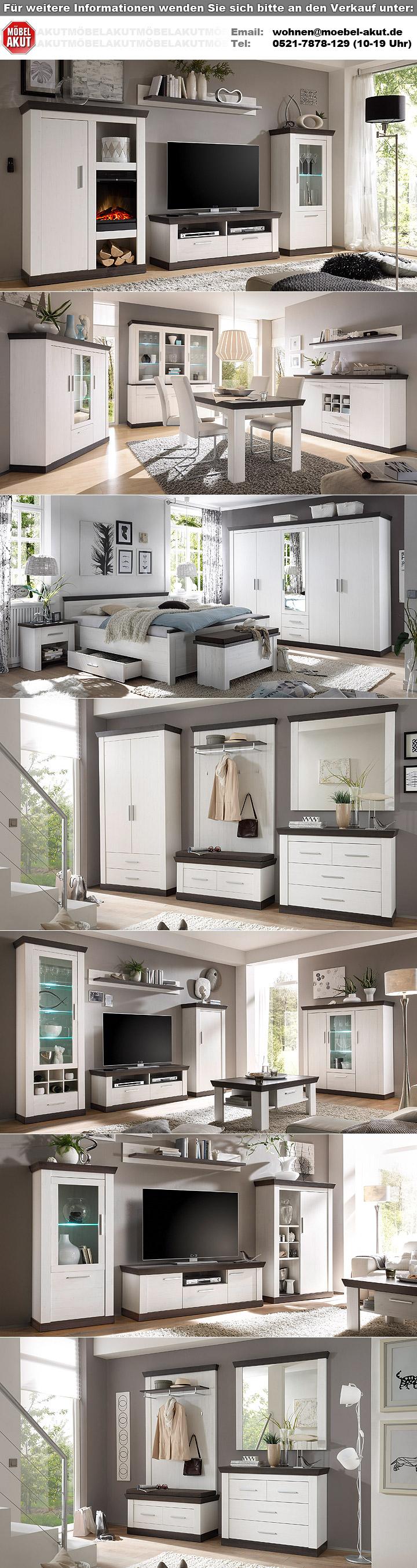 Wohnwand 1 tiena anbauwand wohnzimmer in pinie wei und for Wohnwand 70 euro