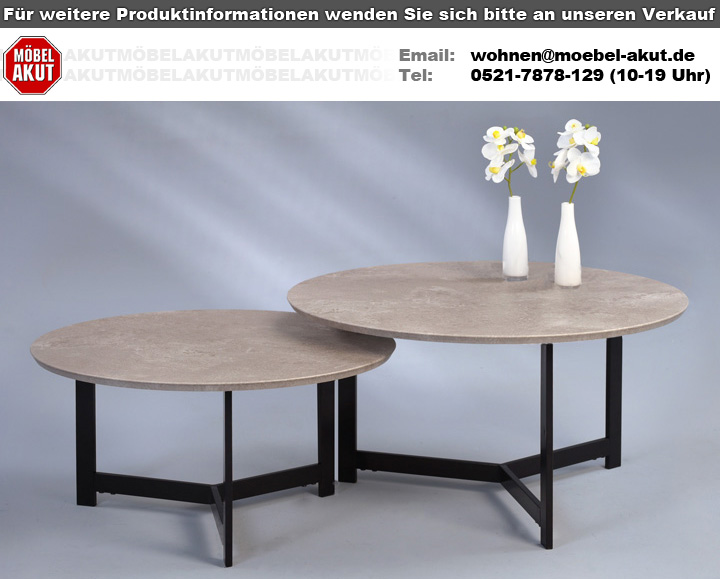 couchtisch lenard 1 rund betonoptik schwarz wohnzimmer beistelltisch vintage 70. Black Bedroom Furniture Sets. Home Design Ideas