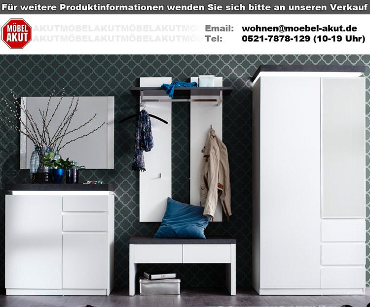 schuhschrank atlanta schrank in matt wei und betonoptik mit led. Black Bedroom Furniture Sets. Home Design Ideas