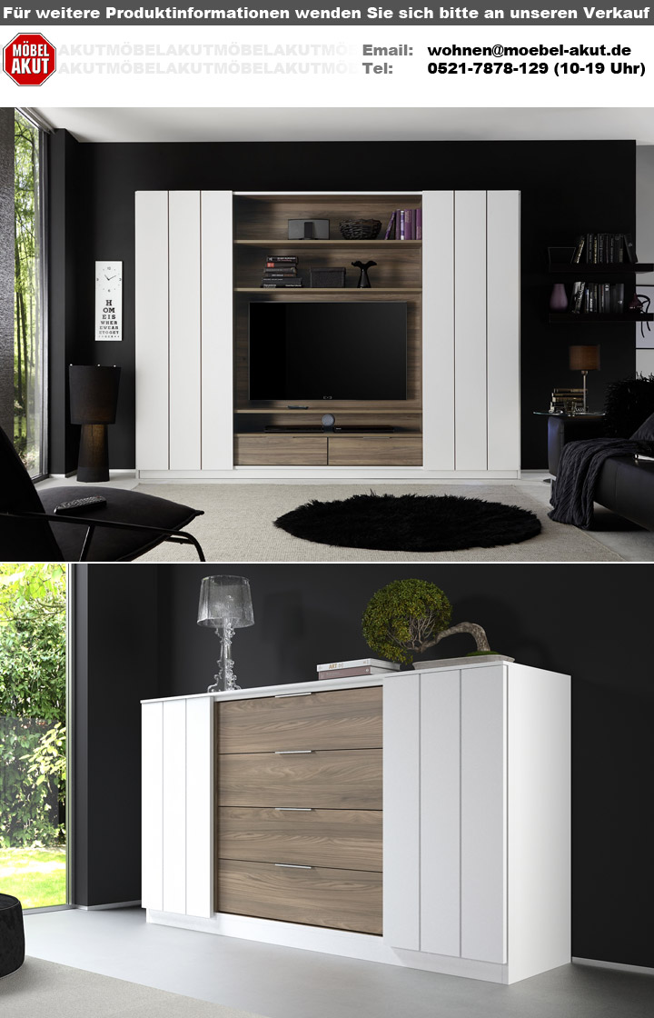 sideboard home anrichte kommode highboard in wei matt lack und noce san remo ebay. Black Bedroom Furniture Sets. Home Design Ideas
