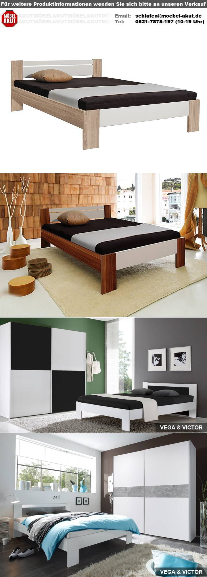 bett vega futonbett wei und beton mit rollrost und matratze 140x200. Black Bedroom Furniture Sets. Home Design Ideas